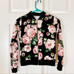 BH Girls Jacket Floral Zip-up Size 12